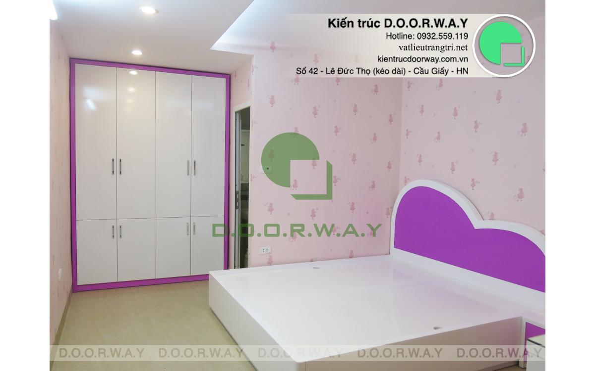 Phòng ngủ bé gái với tông màu tím mộng mơ