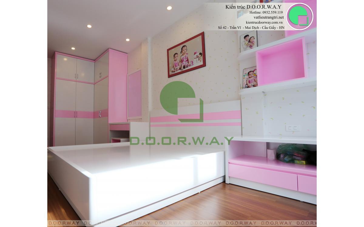 Giấy dán tường Hàn Quốc cho phòng ngủ bé gái tông màu hồng